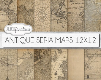 "Antique maps 12x12 digital papers, ""ANTIQUE SEPIA MAPS 12x12"" backgrounds,sepia, vintage map, world map, America, Europe, Asia, Australia"