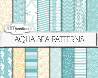 "Beach digital papers ""AQUA SEA PATTERNS"" teal, shells, seahorse, waves, seashell, ocean, starfish, chevron, sea, beach, nautical, seashore"