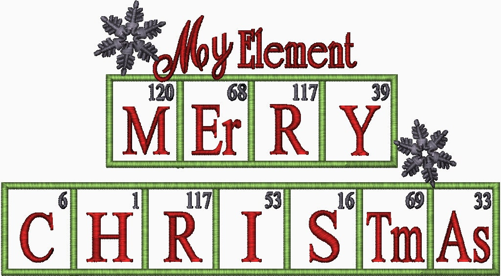 Merry Christmas Periodic Element Table Chemistry Embroidery