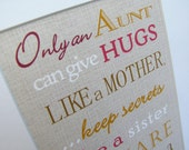 Aunt Gift. Only and Aunt can give hugs like a Mother Print. DIY Instant Download Print from Home. Aunt Birthday Gift