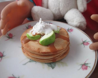 Girl Doll Food, American doll accessories, miniature food, Polymer Clay food, 1/3 scale, Caramel apple pancake,  doll