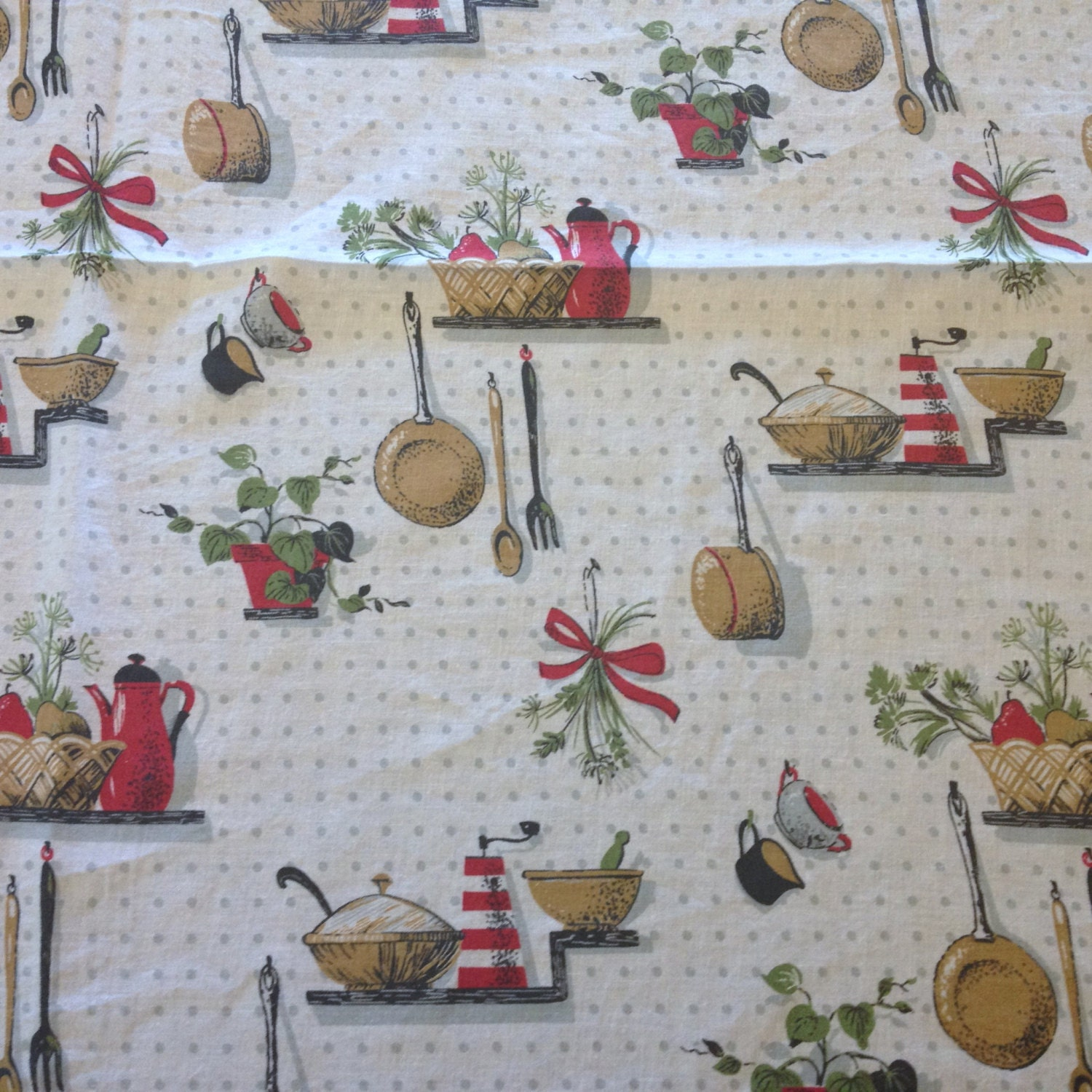 Printed Kitchen Feedsack Fabric Vintage Full Size Opened