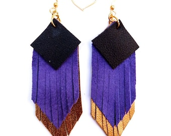 Fringed geometric tassel eco leather earrings, in Navy, Cobalt Blue and shimmering dark gold hand-cut layers