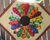 FOODIE GIFT Dresdan Plate Handmade Quilted Wallhanging Bright Colors Fruits and Vegetables Wedding Shower Gift