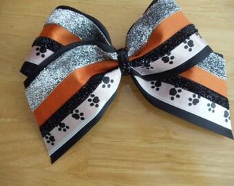 Large Handmade Orange, Black, Sliver & White Cheer Hair bow