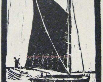 Woodcut print of Norfolk wherry
