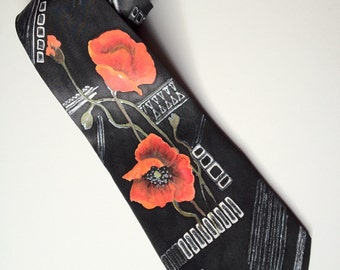 Silk tie 'poppies' hand painted