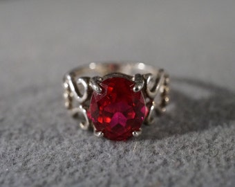 Vintage Sterling Silver Large Oval Red Topaz  Fancy Scrolled Band Ring, Size 10