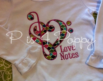 Love Notes applique design instant download
