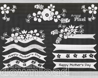 Happy Mothers Day clipart, Flowers Clipart, Ribbons clipart, chalkboard clip art, digital scrapbooking download PNG