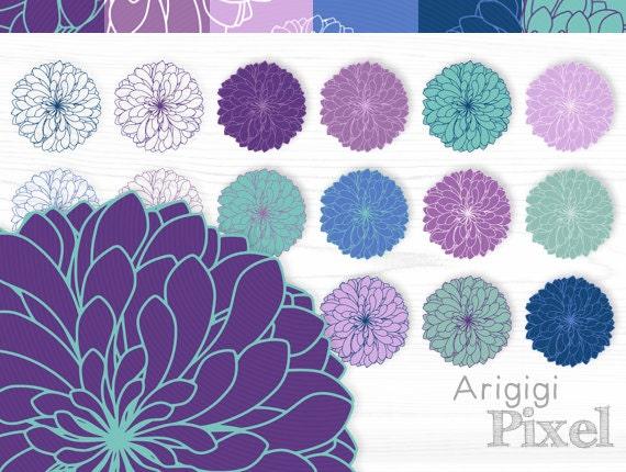 chrysanthemum flowers - clip arts & digital paper set - blue purple colors