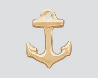 14k Gold Filled Charm Nautical Anchor w/Ring 9mm , 2 Pieces, Made in USA
