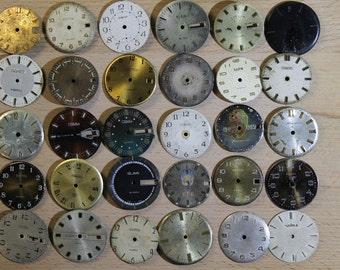 watch faces ...  set of 30  vintage watch faces ...  watch dial, circle ... old vintage watch parts ... steampunk supplies