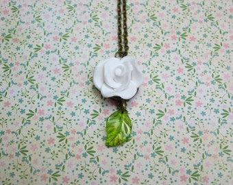 White rose and green glass leaf romantic necklace with antique bronze chain