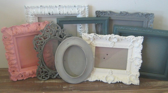 ornate set of gallery wall photo frames pink gray white. Black Bedroom Furniture Sets. Home Design Ideas