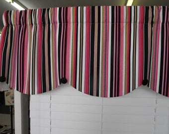 Window Valance, pink and black valance, stripe valance, candy stripe valance, button valance