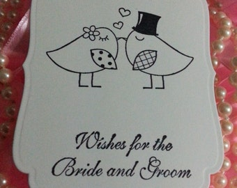 180 Love Bird Wedding  Wish Tree Tags  Adorned With A Beautiful Black Satin Ribbon