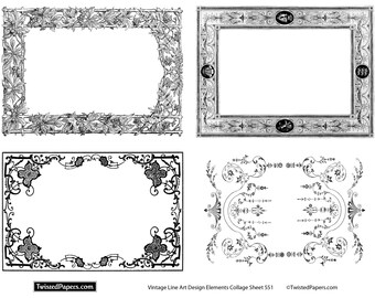 Line Art, Vintage Illustrations, Clip Art,Frames & Borders for Mixed Media, Altered Art, Steampunk in both JPEG and PNG files, CS551