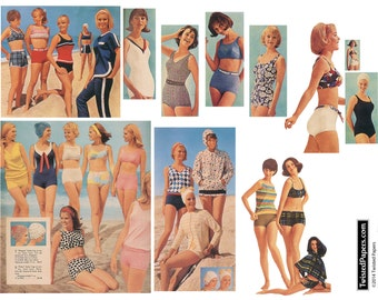 Vintage 1960s Women Swimsuits, Beachwear, Cover-Ups, Printable Digital Collage Sheet SW626