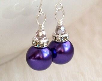 Purple Bridesmaid Jewelry Earrings Purple Pearl Bridesmaid Gift Earrings Dark Purple Rhinestone Jewelry Bridesmaid Gift Wedding Party