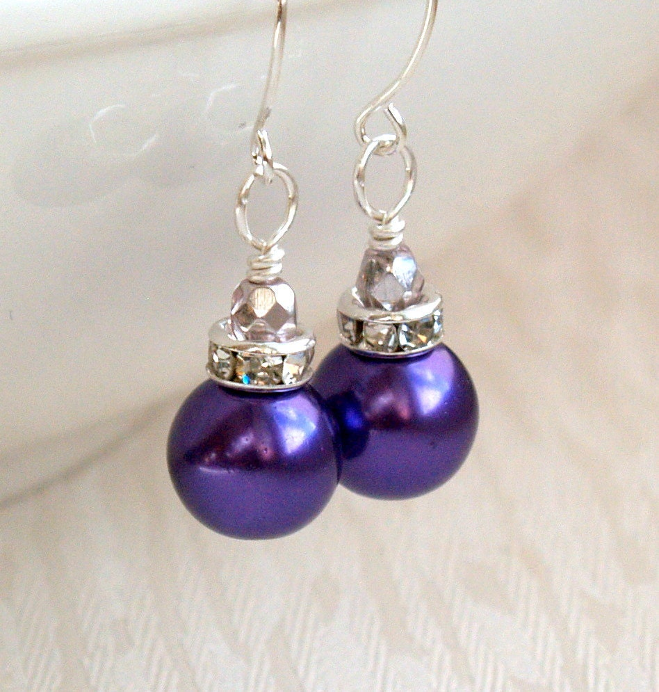 purple bridesmaid jewelry earrings purple pearl bridesmaid