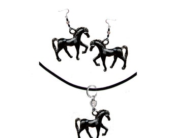 Blackie - Horse Earrings  and  Necklace Set