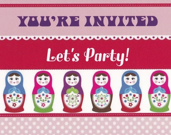 Russian Doll Birthday Party Invitations / Babushka Party Invitations Pack of 20