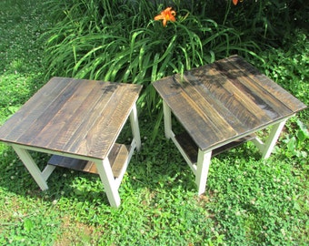 Two Rustic End Tables, French Country, French Cottage Table, Rustic Table, Nightstand, Cottage Chic, Rustic Furniture, Log Cabin, Rustic