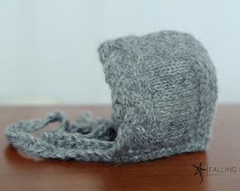 knit yak wool baby bonnet, newborn bonnet, toddler bonnet, winter bonnet, grey bonnet, newborn photo prop, autumn bonnet, warm bonnet, hat