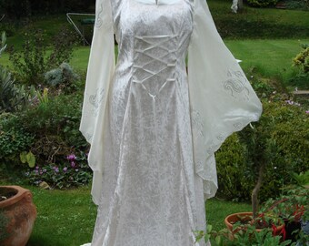 High collar Ivory fairy medieval renaissance  pagan Handfasting celtic wedding gown / dress 16 TO 22
