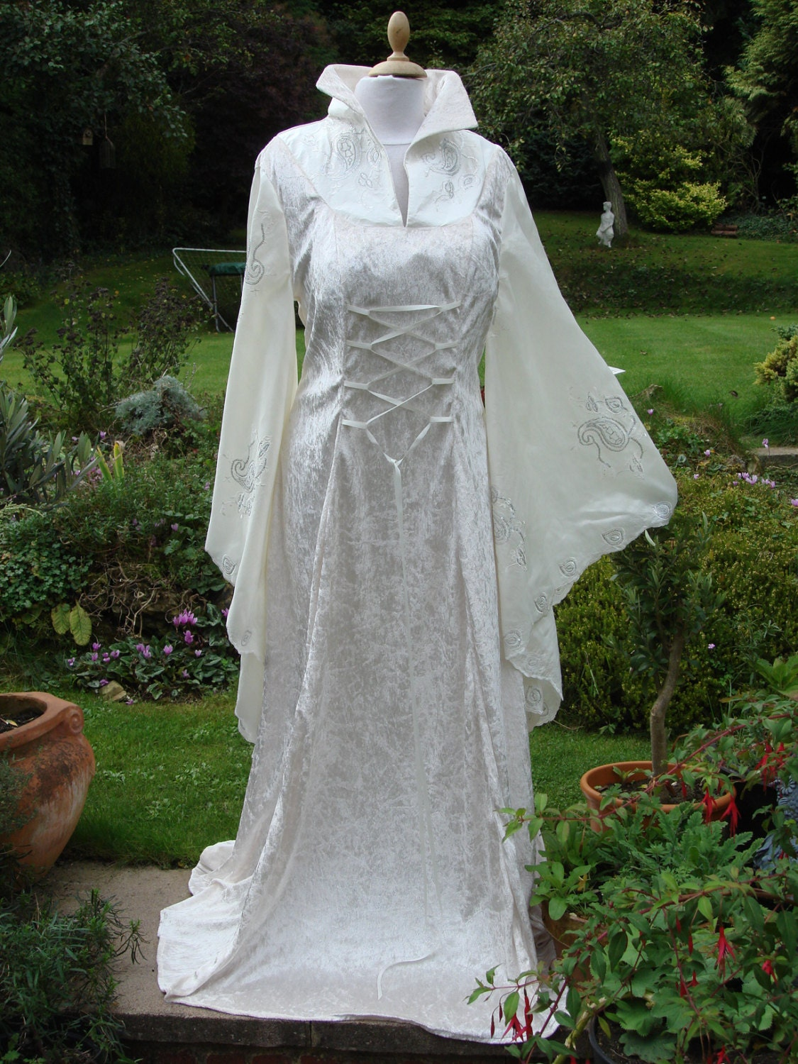 high collar ivory fairy medieval wiccan wedding dress zoom