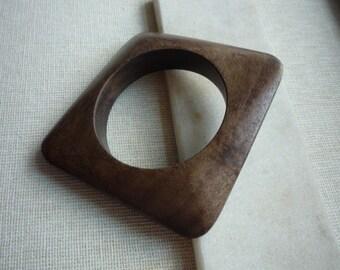 Vintage Wooden Chunky Modernistic Geometric Bangle Bracelet