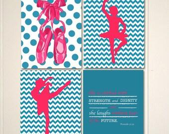 Girls art, ballet art, ballerina art, baby girl nursery, ballet slippers, chevron, polkadot, inspirational quote for girls, set of 4 prints