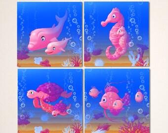 Nursery art, baby girl art, ocean theme nursery decor, baby girl nursery, nautical nursery, sea crab, Set of 4, 8x8