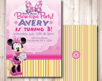 Printable Minnie's Bow-tique Birthday Invitation