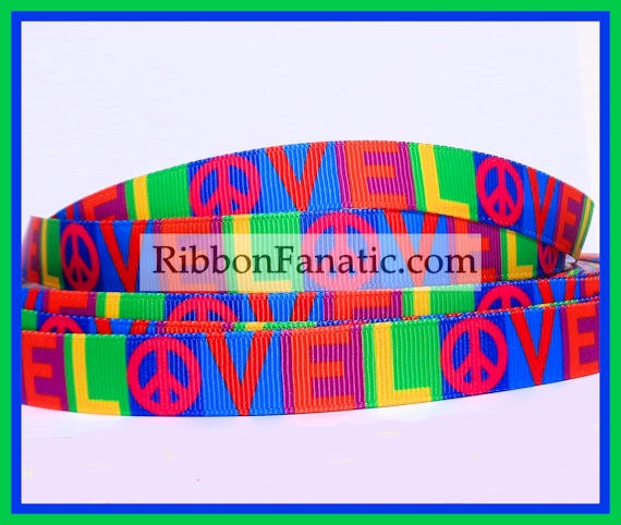 5 Yds 5 8 Quot Peace And Love Brightly Colored Grosgrain