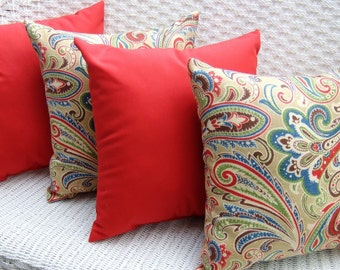 "Set of 4 - 20"" x 20"" Indoor / Outdoor Decorative Throw Pillows - 2 Blue, Red, Green, Tan, Paisley & 2 Solid Red Pillows"