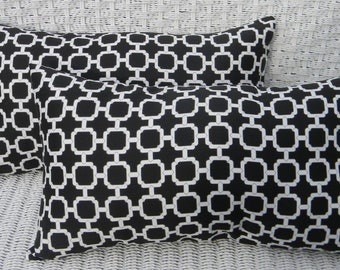 SET OF 2 -  Indoor / Outdoor Rectangle / Lumbar Decorative Throw Pillows - Black and White Geometric Hockley