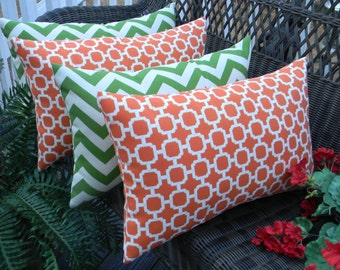Set of 4 -  Indoor / Outdoor Lumbar / Rectangle Decorative Throw Pillows - Orange and White Geometric Hockley & Green Chevron