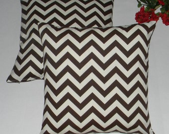 "SET OF 2 - 20"" Brown & Ivory Chevron Feather and Down Decorative Throw Pillows"