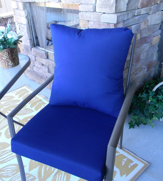 Outdoor Solid Dark Blue Navy Cushion & Back Pillow Set for