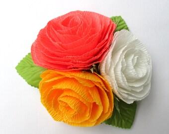 Paper Flower Corsage/Wrist Corsage/Wedding Corsage/Bridal Shower/Peper Flower Corsage/Yellow/Pink/White