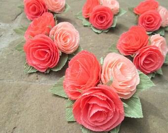 Wedding Boutonniere/Paper Flower Boutonniere/Rustic Boutonniere/Groom's Boutonniere/ Coral Boutonniere