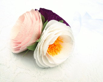 Paper Flower Corsage/ Wrist Corsage/ Wedding Corsage/ Bridal Shower/ Peper Flower Corsage/ White, Purple and Light Pink Corsage