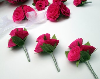 Wedding Boutonniere/Paper Flower Boutonniere/Rustic Boutonniere/Groom's Boutonniere/ Pink and Red Boutonniere
