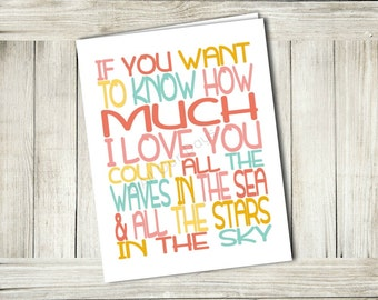 Printable Greeting Card // How Much I Love You // INSTANT DOWNLOAD