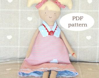PDF pattern: Alice doll - sewing pattern fabric doll - softie doll pattern - sewing pattern doll with pigtails