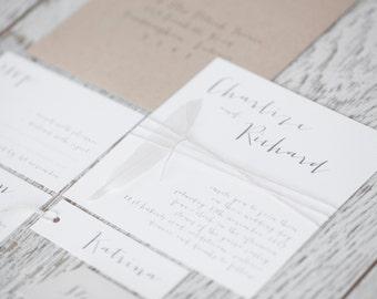 Sample SUITE 14 : White dove feather wedding invitation, Calligraphy invitation, twine & Rustic wedding invitation,wedding invite,simplistic