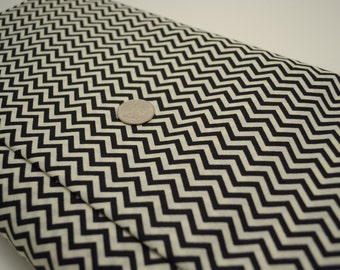 By the Yard - Black and Cream Chevron - Quilter's Showcase 100% Cotton Fabric