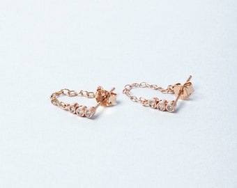 Chained earrings, CZ chain earrings, Rose Gold vermeil chain earring, stud chained earring